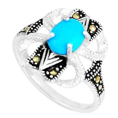 2.13cts blue sleeping beauty turquoise marcasite 925 silver ring size 9 c23677
