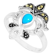 1.17cts blue sleeping beauty turquoise marcasite 925 silver ring size 9 c23679