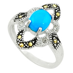 Blue sleeping beauty turquoise marcasite 925 sterling silver ring size 7 c22069