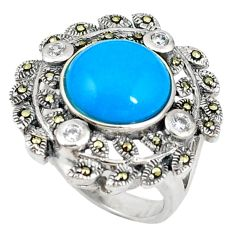 Blue sleeping beauty turquoise marcasite 925 sterling silver ring size 7 c22909