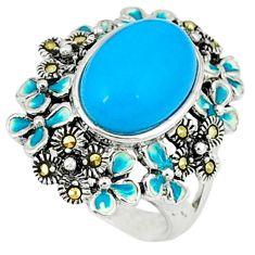 Blue sleeping beauty turquoise marcasite enamel 925 silver ring size 6.5 c19880