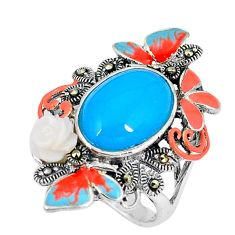 Blue sleeping beauty turquoise marcasite enamel 925 silver ring size 6.5 c21511