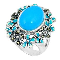 Blue sleeping beauty turquoise marcasite enamel 925 silver ring size 5.5 c21514