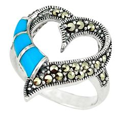 Blue sleeping beauty turquoise marcasite 925 silver heart ring size 7 c16371
