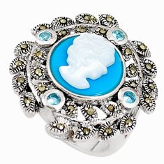 Blue sleeping beauty turquoise pearl 925 silver lady face ring size 6 c21408