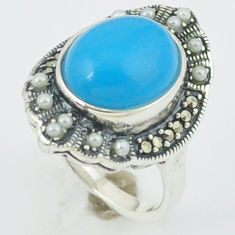 Blue sleeping beauty turquoise pearl 925 silver ring jewelry size 6.5 c18721