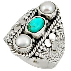 3.52cts blue sleeping beauty turquoise pearl 925 silver ring size 7.5 r42722