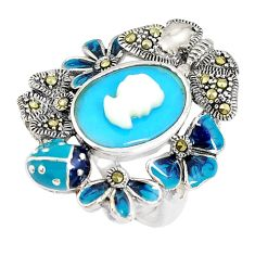 Blue sleeping beauty turquoise pearl lady face 925 silver ring size 5.5 c21407
