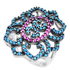 2.18cts blue sleeping beauty turquoise ruby (lab) 925 silver ring size 6 c23388