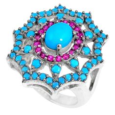 Blue sleeping beauty turquoise ruby quartz 925 silver ring size 5.5 c23411