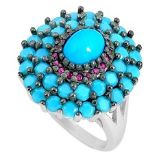 Blue sleeping beauty turquoise ruby quartz 925 silver ring size 6 c23409