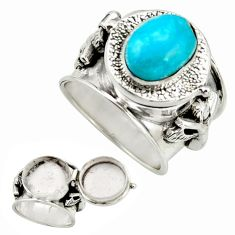 4.96cts blue sleeping beauty turquoise silver poison box ring size 8.5 r26675