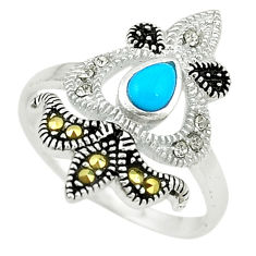 Blue sleeping beauty turquoise swiss marcasite 925 silver ring size 7 c22063