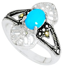 1.70cts blue sleeping beauty turquoise topaz 925 silver ring size 6.5 c23629