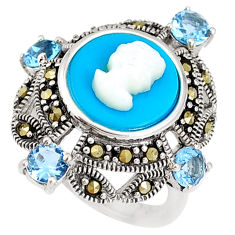 Blue sleeping beauty turquoise topaz lady face 925 silver ring size 6 c21410