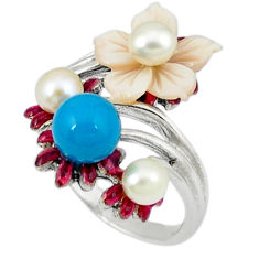 Blue sleeping beauty turquoise white pearl 925 silver ring size 6.5 c18640
