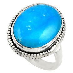 12.75cts blue smithsonite 925 silver solitaire ring jewelry size 8.5 r28481