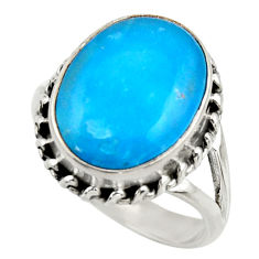 9.84cts blue smithsonite 925 sterling silver solitaire ring size 7.5 r28485