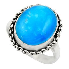 10.58cts blue smithsonite 925 sterling silver solitaire ring size 8.5 r28486