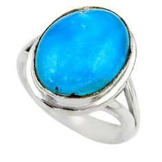 10.46cts blue smithsonite 925 sterling silver solitaire ring size 7.5 r28487