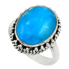 10.26cts blue smithsonite 925 sterling silver solitaire ring size 8.5 r28488