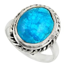 6.16cts blue smithsonite 925 sterling silver solitaire ring size 7.5 r28491