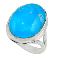14.33cts blue smithsonite 925 sterling silver solitaire ring size 8.5 r28492