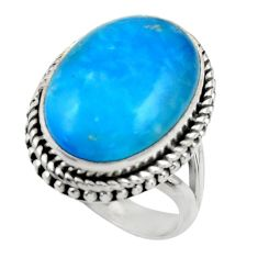15.54cts blue smithsonite 925 sterling silver solitaire ring size 8.5 r28498