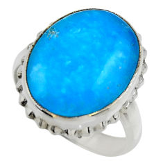 13.55cts blue smithsonite 925 sterling silver solitaire ring size 7.5 r28503