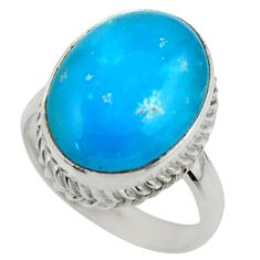 13.31cts blue smithsonite 925 sterling silver solitaire ring size 7.5 r28507