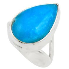 11.91cts blue smithsonite 925 sterling silver solitaire ring size 6 r28511