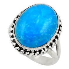 10.23cts blue smithsonite 925 sterling silver solitaire ring size 7 r28482