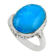 9.45cts blue smithsonite 925 sterling silver solitaire ring size 7 r28496