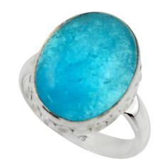 9.88cts blue smithsonite 925 sterling silver solitaire ring size 7 r28497