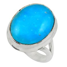 13.70cts blue smithsonite 925 sterling silver solitaire ring size 7 r28500