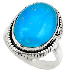 11.83cts blue smithsonite 925 sterling silver solitaire ring size 7 r28517