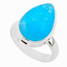 7.72cts blue smithsonite 925 sterling silver solitaire ring size 7 r95761