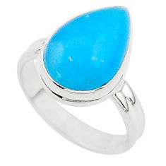 7.63cts blue smithsonite 925 sterling silver solitaire ring size 7 r95767