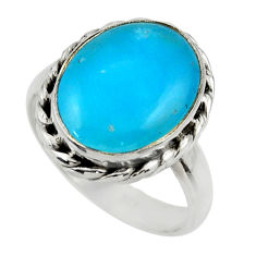 6.54cts blue smithsonite 925 sterling silver solitaire ring size 8 r28420