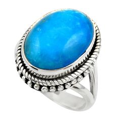 11.02cts blue smithsonite 925 sterling silver solitaire ring size 8 r28489