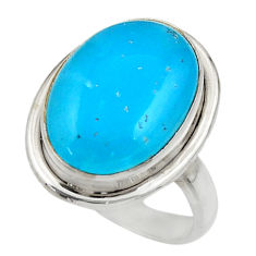 10.73cts blue smithsonite 925 sterling silver solitaire ring size 8 r28493