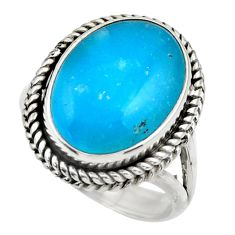 13.98cts blue smithsonite 925 sterling silver solitaire ring size 8 r28495