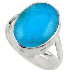 10.49cts blue smithsonite 925 sterling silver solitaire ring size 8 r28502