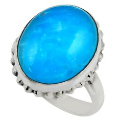 12.36cts blue smithsonite 925 sterling silver solitaire ring size 8 r28506