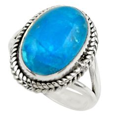 7.88cts blue smithsonite 925 sterling silver solitaire ring size 8 r28515