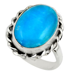 9.92cts blue smithsonite 925 sterling silver solitaire ring size 8 r28516