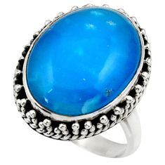 15.60cts blue smithsonite 925 sterling silver solitaire ring size 8 r28651