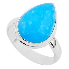 7.81cts blue smithsonite 925 sterling silver solitaire ring size 8 r95763