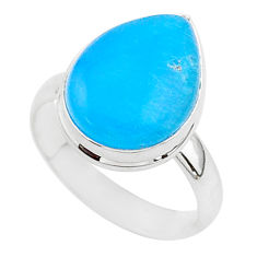 7.63cts blue smithsonite 925 sterling silver solitaire ring size 8 r95765