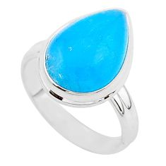 8.26cts blue smithsonite 925 sterling silver solitaire ring size 8 r95766